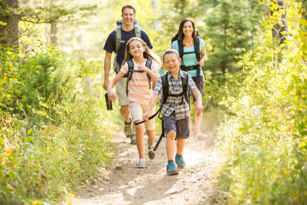 Famille avec parents et deux enfants en train de se promener en montagne