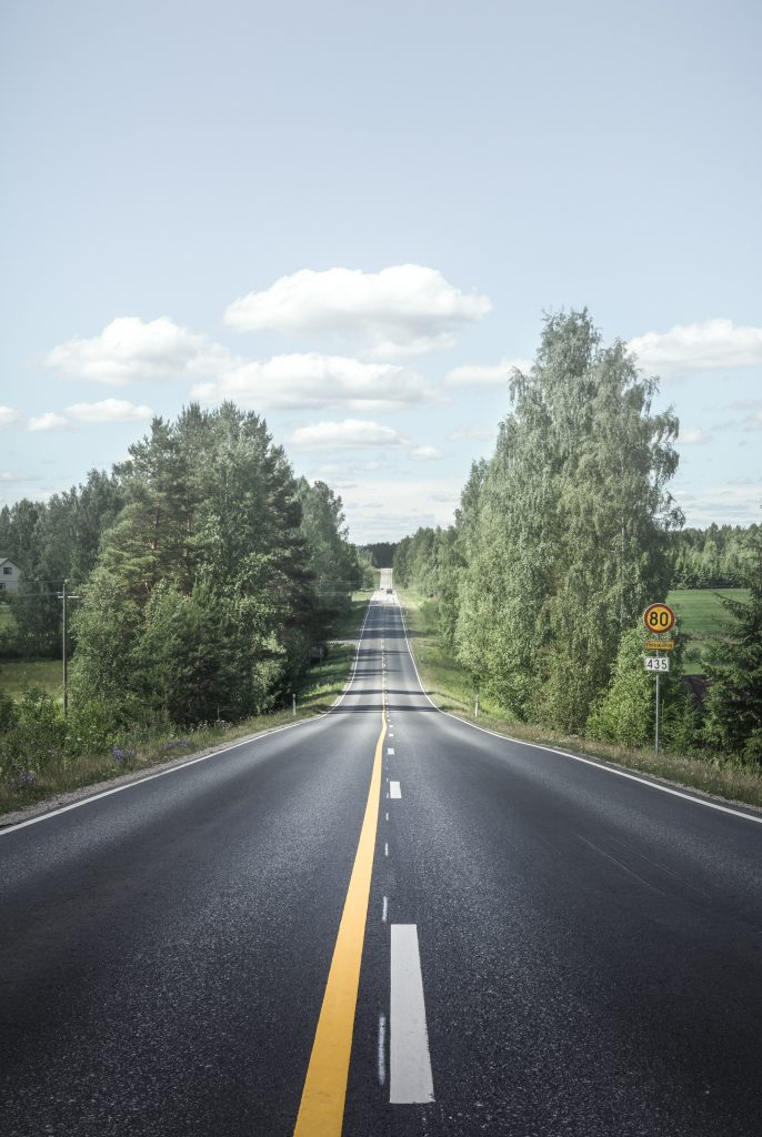 Route entourée d'arbres
